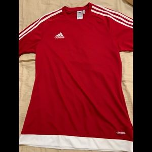 Red and white adidas men shirt small